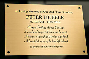 Engraved Memorial Plaque, Bench Plate, in Silver or Brass Effect High Quality