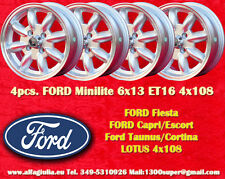 4 Cerchi FORD LOTUS TALBOT Minilite 6x13 ET16 4x108 Wheels Felgen Llantas Jantes