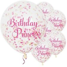 "6 Birthday Princess Pink Confetti 12"" Latex Balloons Helium Quality Girls Party"