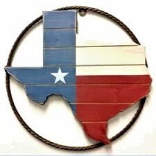 """18"""" STATE OF TEXAS WOOD METAL RING RUSTIC BRONZE WESTERN HOME DECOR RUSTY ART"""