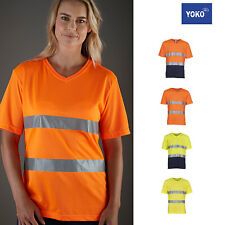 Yoko Hi-Vis Top Cool Super Light V Neck T-Shirt HVJ910 - Unisex Short Sleeve Tee