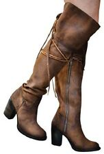 Freebird by Steven Brock Over the Knee Boots Sz 9 Tan Suede Leather NEW $398 FAB