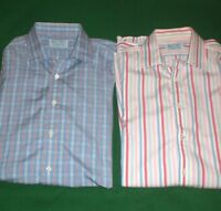 HILDITCH KEY Shirt Lot Blue Check Red Pink Striped French Cuff 16 Mens Large