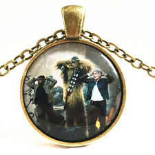 Vintage Star Wars character Cabochon Glass Bronze Chain Pendant Necklace~#81
