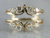 0.45 Ct Diamond Solitaire Enhancer Wedding Guard Band 14k Yellow Gold GP Ring
