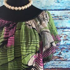 XL Karen Kane Womens Blouse Top Popover Sheer Flutter Sleeves 100% Silk 14 16