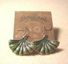 LUCKY BRAND GREEN FAN SHAPE LEAF PUNK DANGLE VINTAGE GOLD HOOK PIERCED EARRINGS