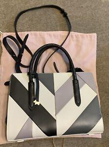 Exc Cond Radley Striped Leather Bag Rrp £185 Cream Grey & Black