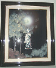 Tableau peinture sur verre et sculpture,Fée Viviane, la Dame du Lac