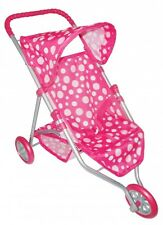 Deluxe 3 Wheeled Pram Pink For Baby Dolls Buggy Toy 3+