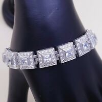 """7.25"""", Vtg Sterling 925 Silver fashionable Wide Tennis Bracelet W/ Cluster Cz"""