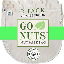 2PACK 100% ORGANIC COTTON Nut Milk Bag  Restaurant Commercial Grade by GoNuts
