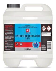 Hydrochloric Acid Muriatic Acid 20L Pool Ph Stabiliser Surface Cleaner