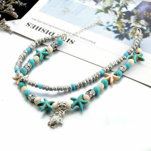 Fashion Two layers Turtle Pendant Starfish Conch Anklet Foot Jewelry Beach Chain