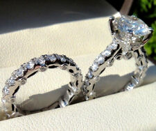 Gold Engagement Bridal Ring Set 2.80Ct Near Round Moissanite 14K White