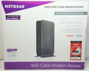 Netgear N600/C3700 WiFi Modem Router DOCSIS 3.0 (8x4) W/ Power & Ethernet Cables