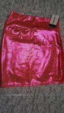 NWT Coquetry Women's Orange Holographic Sparkly Shiny Bodycon Mini Skirt Size L