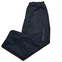 Champion Men's Size Large Spellout Nylon Sweatpants Navy Blue Lined
