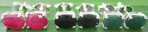 """925 sterling silver GENUINE Natural """"RUBY SAPPHIRE EMERALD"""" studs EARRINGS -GIRL"""