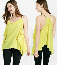 EXPRESS L Chartreuse GREEN OMEGA CHAIN STRAP DRAPED BLOUSE cami shirt top large