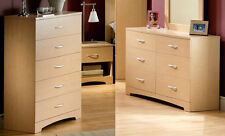 3-Piece Natural Dresser Chest Nightstand Bedroom Collection Home Living Storage