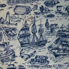 BonEful Fabric FQ Cotton Quilt Blue Light*House Anchor Sail Boat Nautical Toile