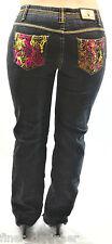 BABY PHAT Kids Girls Girlz DK Navy blue dark wash embroidered Bling Jeans 14 NEW