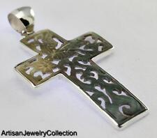 SHELL BALI CROSS PENDANT 925 STERLING SILVER ARTISAN JEWERLY COLLECTION T120