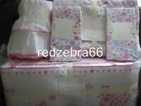 Pottery Barn Kids Mia Butterfly Floral Crib Quilt Bumper Sheets Skirt Set 5-PC