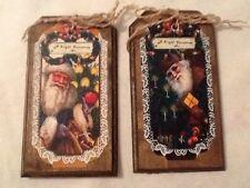 5 WOOD PriM Vintage Santa Christmas Ornaments,PRIM HangTags,Winter ORNIES Set9h