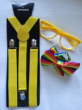 School NERD Sexy GEEK Kit pack set glasses bowtie bow tie braces costume Yellow