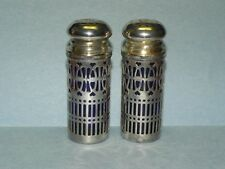 Chrome Salt & Pepper Shakers with Cobalt Glass Inserts_3059