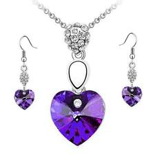Girl Women Rhinestone Crystal Necklace Earring Jewelry Set Purple Heart Shape