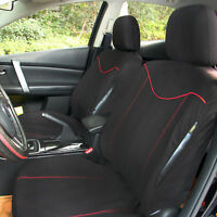 11 pcs Full Seat Cover Set Car Seat Cover Low Front Back Set Black + Red Edge