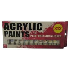 12 x Acrylic Colour Paint Tubes Assorted 12ml in Storage box Artists Large Size
