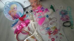 LARGE APROX 65 ITEMS Bundle TOYS FOR GIRL HEADBANDS FROZEN MINNIE DOLL necklaces