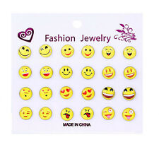 12 Pair Funny Smile Emoji Cabochon Women's Stud Earrings New Arrival S xuefezha