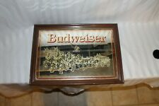 Vtg Budweiser King of Beer Clydesdale Advertising Sign Mirror Foil Bar Man Cave