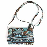 Vera Bradley Java Small Crossbody Purse Bag Wallet Hipster Blue Brown Floral