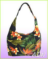 Large Hawaiian print hobo bag w/top zipper - 103Black