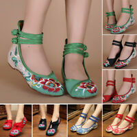 Women Lady Chinese Embroidered Casual Ballerina Mary Jane Flat Loafer Shoes Size