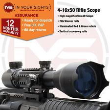 4-16x50 Rifle scope / Tactical rail, illuminated reticle fits 20mm Weaver Rail