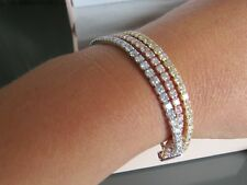 New Diamonique 6.9ct tw 3 Row Friendship Tennis Bracelet Sterling Silver,
