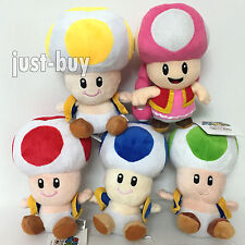 """5X Super Mario Bros. Plush Yellow Red Green Blue Toad Toadette Soft Toy Doll 7"""""""