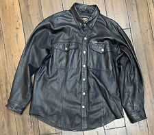 Harley Davidson Classic Men's Black Leather Button Shirt Size Large 98111-98VM