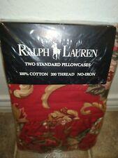 NEW Ralph Lauren Vintage Red Floral Daniele Marseille 2 Standard Pillowcases Set