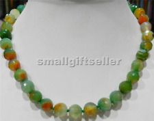"""12MM FACETED RED GREEN MULTI-COLOR AGATE ROUND BEADS NECKLACE 18"""""""
