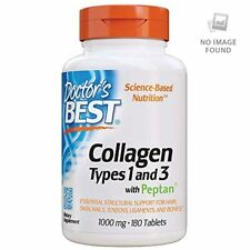 Doctor's Best Collagen Types 1 and 3 with Peptan, Non-GMO 1000 mg, 180 Tablets