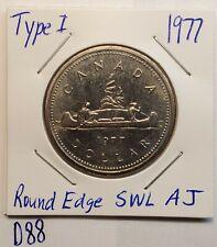 Lower Mintage  K Nickel 1977 TYPE II One Dollar Coin ELIZABETH II CANADA