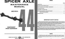 Dana Spicer Axle c1981 - Spicer Axle Model 44 Independent Front Suspension Maint